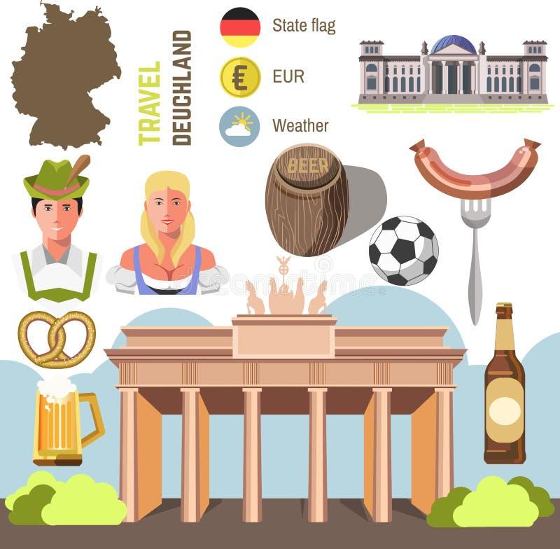 Conception plate d'icônes de point de repère de l'Allemagne de concept de voyage illustration stock