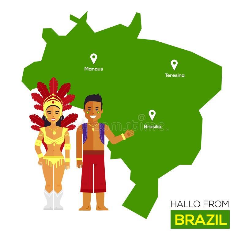 Conception plate d'icônes de point de repère du Brésil de concept de voyage illustration de vecteur