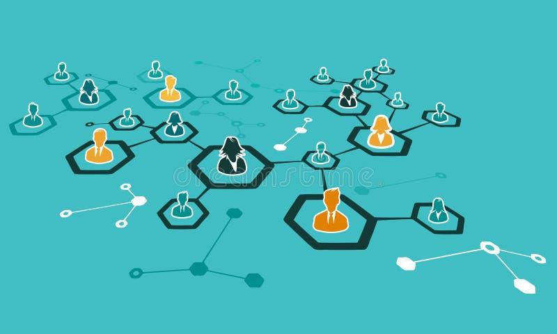 Conception plate d'illustration de concept de réseau Internet illustration stock