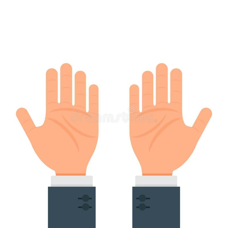 Conception plate d'illustration de mains de vecteur humain de geste d'isolement sur le fond blanc illustration stock