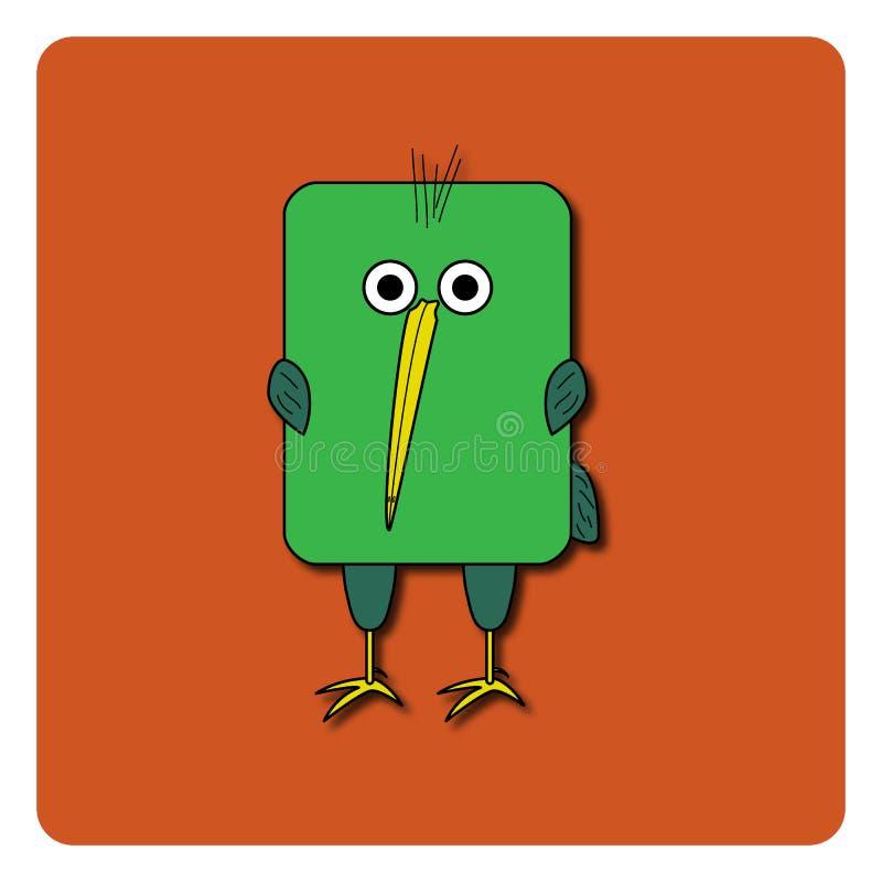 Conception plate d'oiseau sur le fond de couleur Oiseau arrondi de kiwi de vert de rectangle Oiseau drôle de dessin animé Logo ab illustration stock
