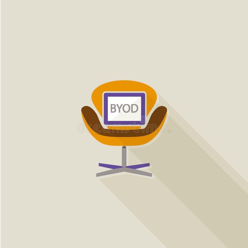 Conception plate d'ombre de BYOD longue illustration stock