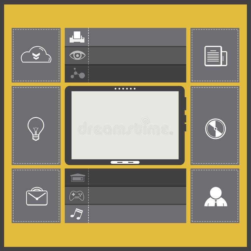 Conception plate d'UI avec la tablette illustration de vecteur
