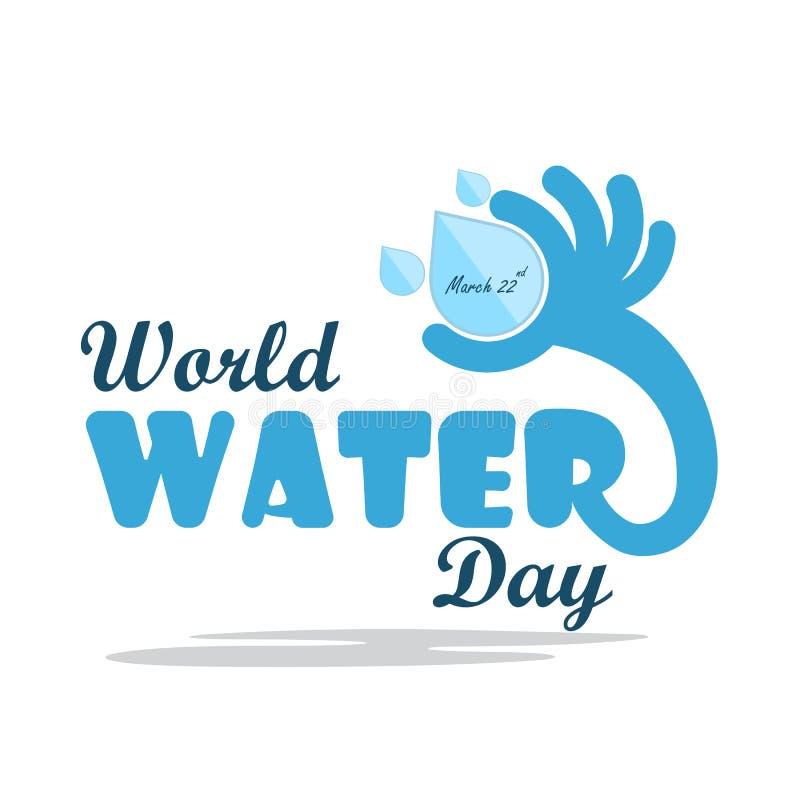 Conception plate de bande dessinée d'illustration de jour de l'eau du monde Icône de baisse de l'eau illustration libre de droits