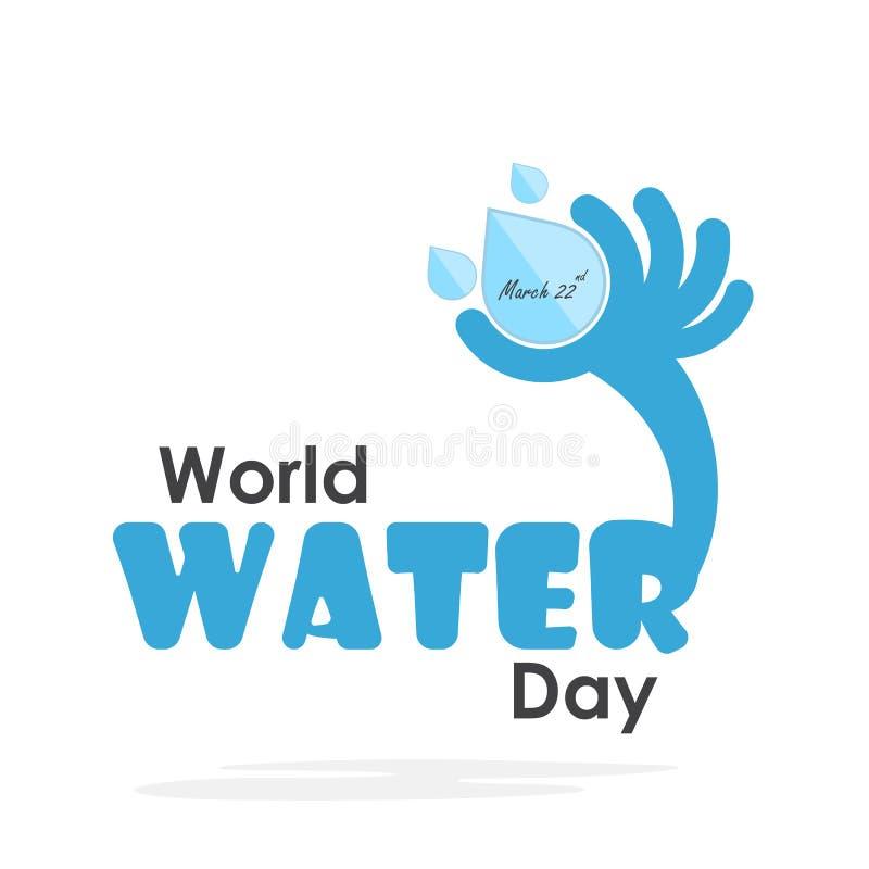 Conception plate de bande dessinée d'illustration de jour de l'eau du monde Icône de baisse de l'eau illustration de vecteur