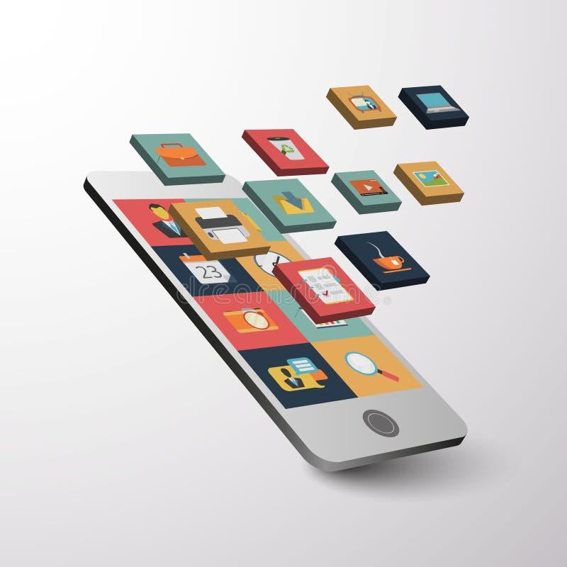 Conception plate de belle icône de Smartphone et de Tablette illustration stock