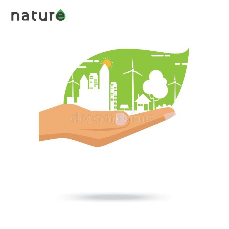 Conception plate de concept d'Eco illustration de vecteur