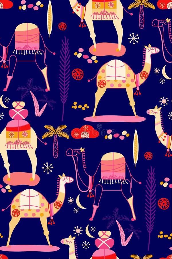 Conception plate de couleur de modèle de chameau illustration stock