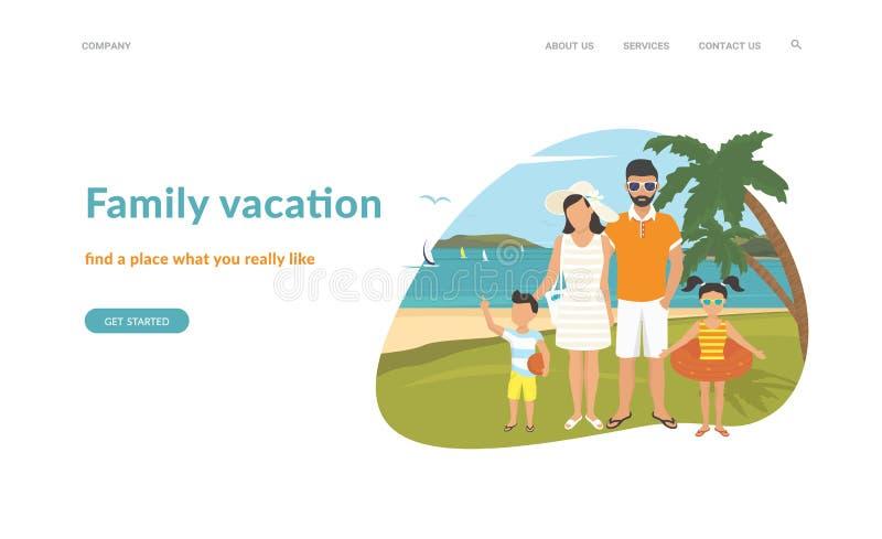Conception plate de famille d'illustration heureuse de vacances illustration stock