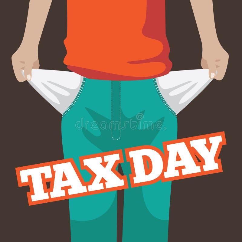 Conception plate de jour d'impôts Extraction des poches vides illustration de vecteur