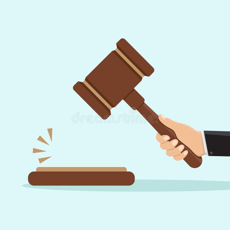 Conception plate de juge de marteau illustration stock