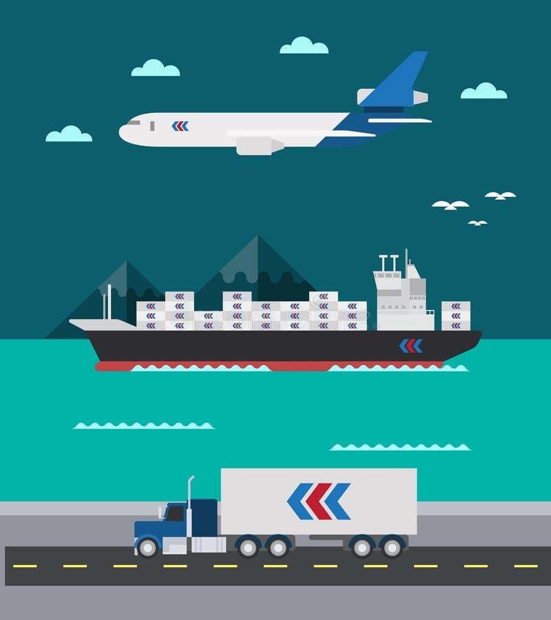 Conception plate de la mer de transport de cargaison aéroterrestre illustration libre de droits