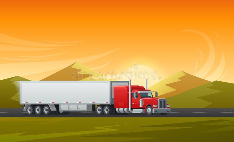 Conception plate de long vecteur de véhicule de camion de remorque illustration libre de droits