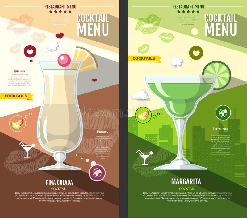 Conception plate de menu de cocktail de style illustration stock