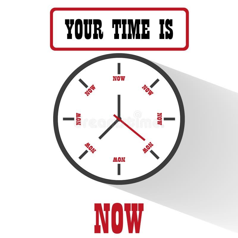 Conception plate de motivation d'horloge illustration libre de droits