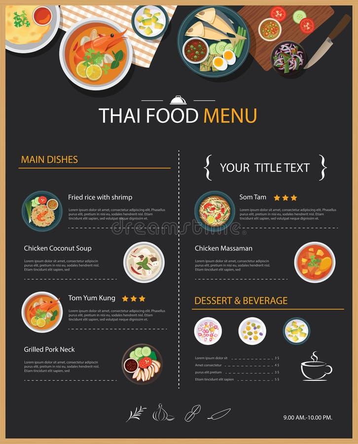 Conception plate de nourriture de restaurant de calibre thaïlandais de menu illustration stock