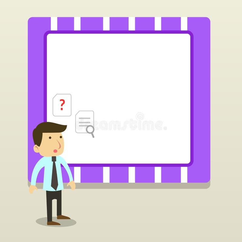 Conception plate de photo de jeune employ? de bureau ou homme d'affaires masculin dans un lien se tenant confus et pensant au-des illustration libre de droits