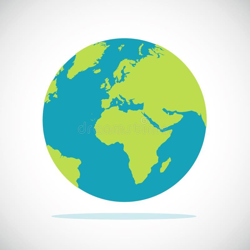 Conception plate de planète d'icône bleue et verte de la terre illustration stock