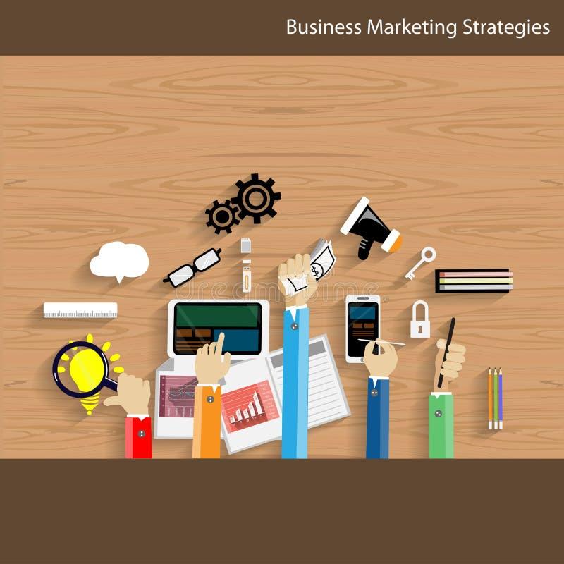 Conception plate de stratégies marketing d'affaires de vecteur illustration stock