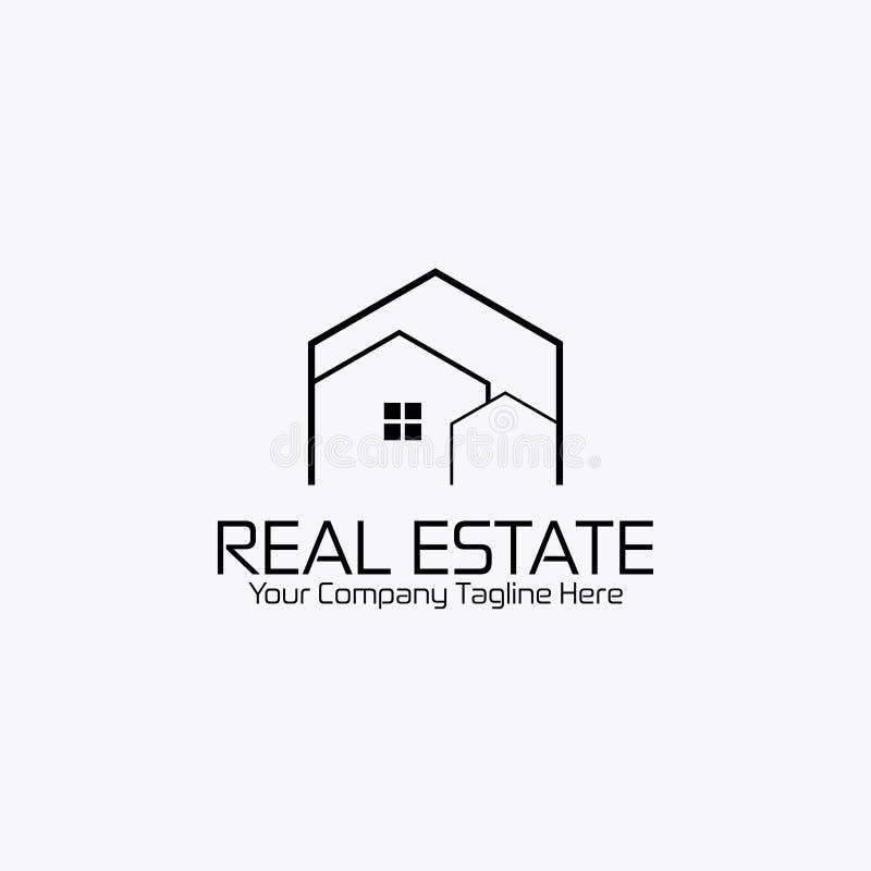 Conception plate de style blanc de noir de logo d'immobiliers photos stock