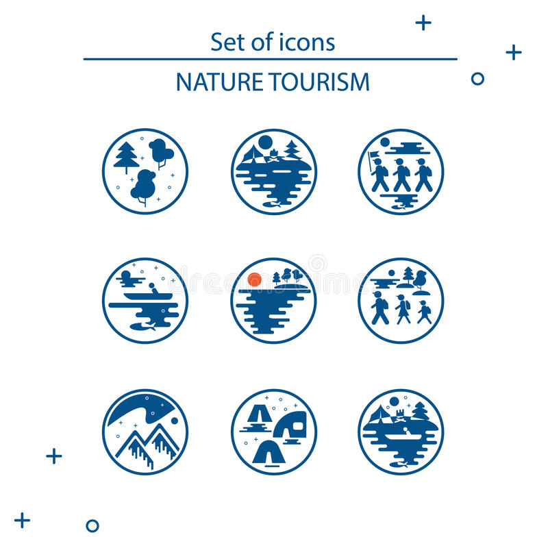 Conception plate de style vectoriel de clipart (images graphiques) Les icônes du tourisme en nature, la famille va sur une hausse illustration stock