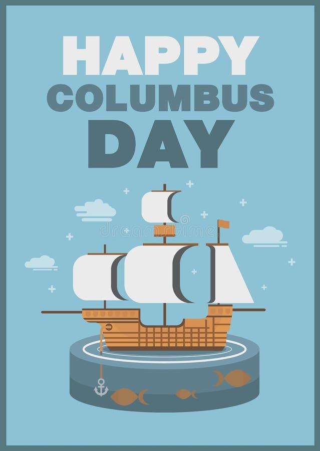 Conception plate de thème de bateau et d'océan d'affiche de jour de Christopher Columbus illustration stock