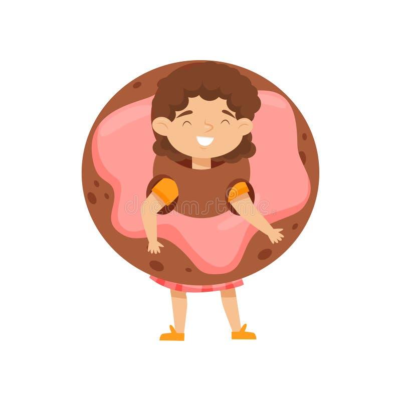 Conception plate de vecteur de costume de port adorable de beignet de petite fille Enfant avec le visage heureux casse-croûte dou illustration stock