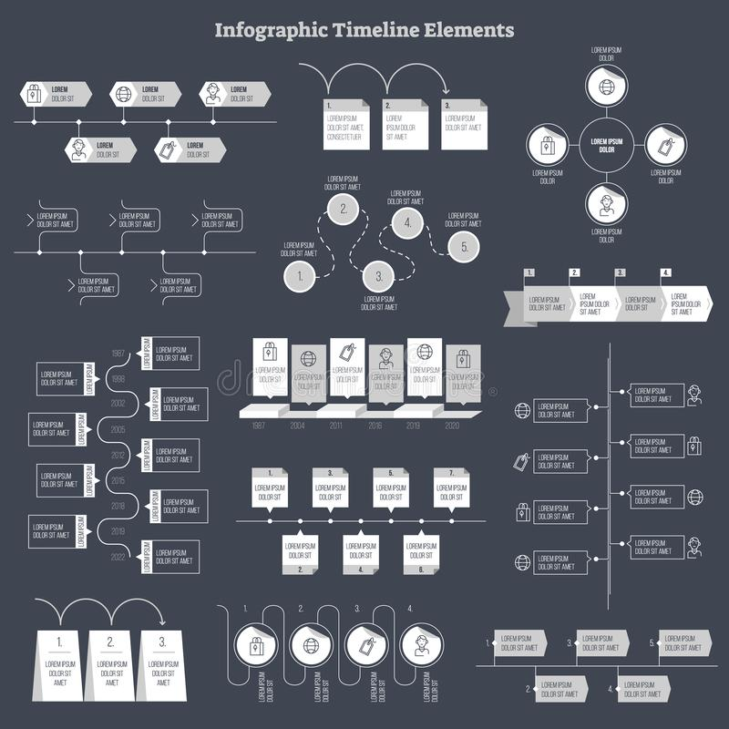 Conception plate de vecteur d'Infographic, collection d'éléments d'informations sur les données d'affaires illustration stock