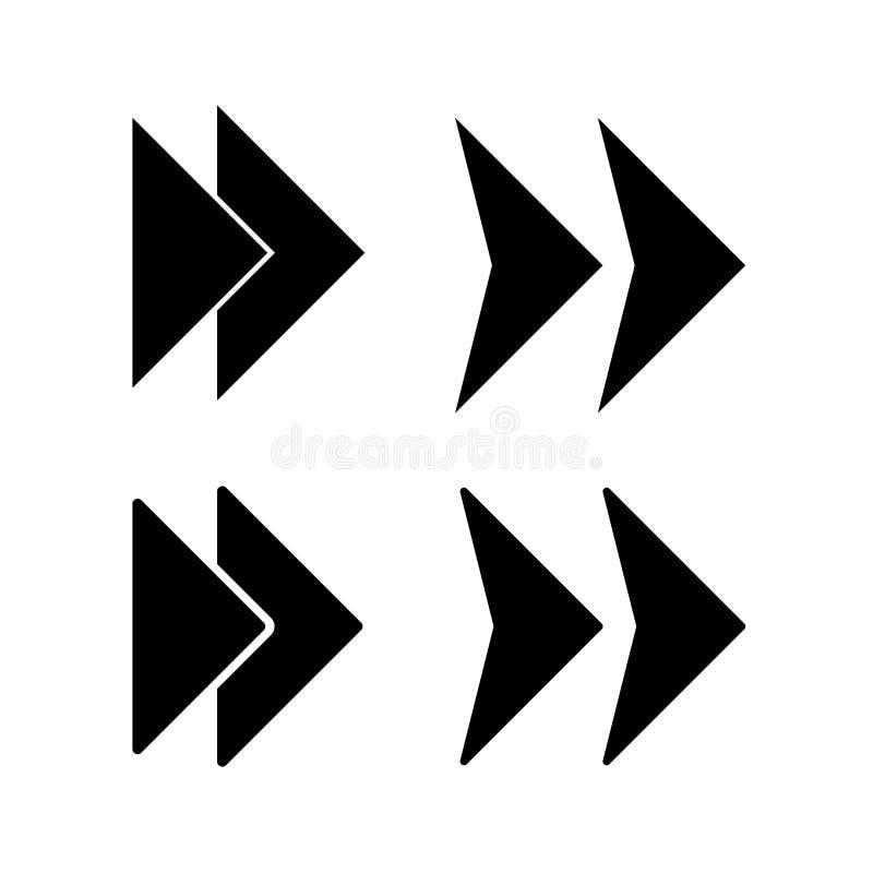 Conception plate de vecteur d'isolement par icône de flèche en avant illustration libre de droits