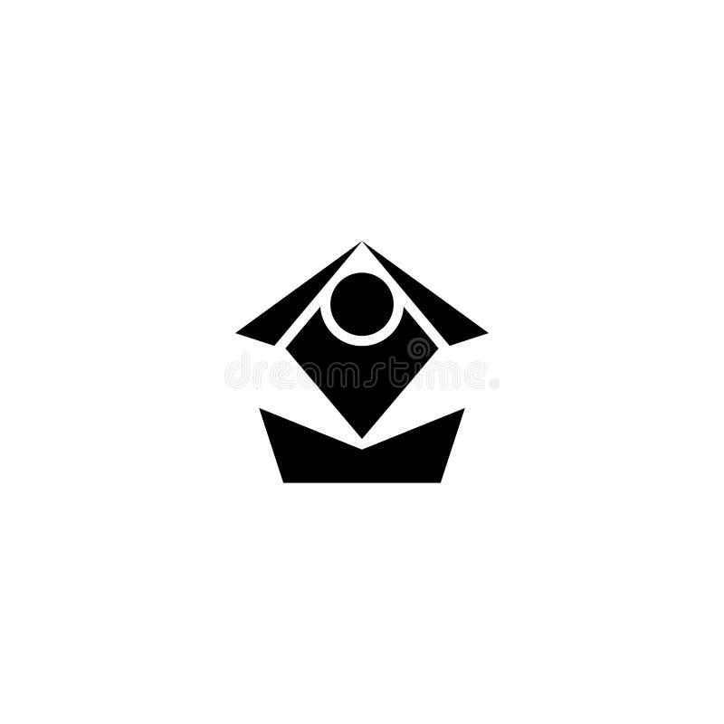 Conception plate de vecteur de logo de yoga, icône de vecteur illustration libre de droits