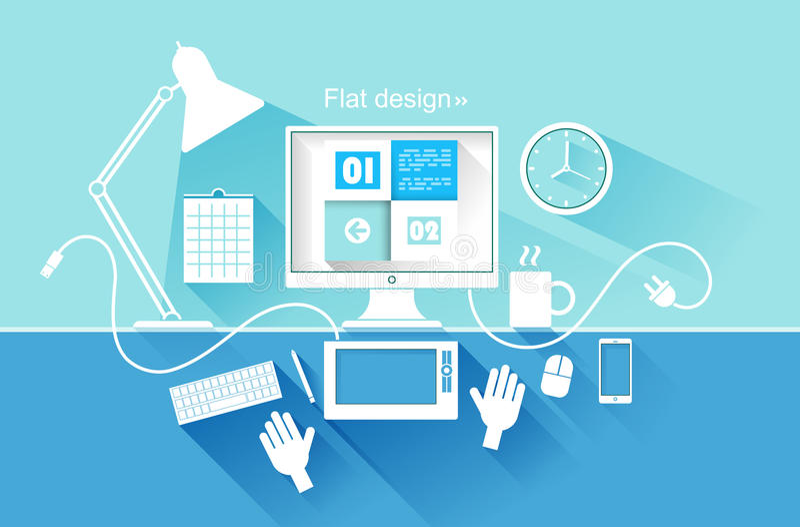 Conception plate des dispositifs modernes Illustration de vecteur illustration de vecteur