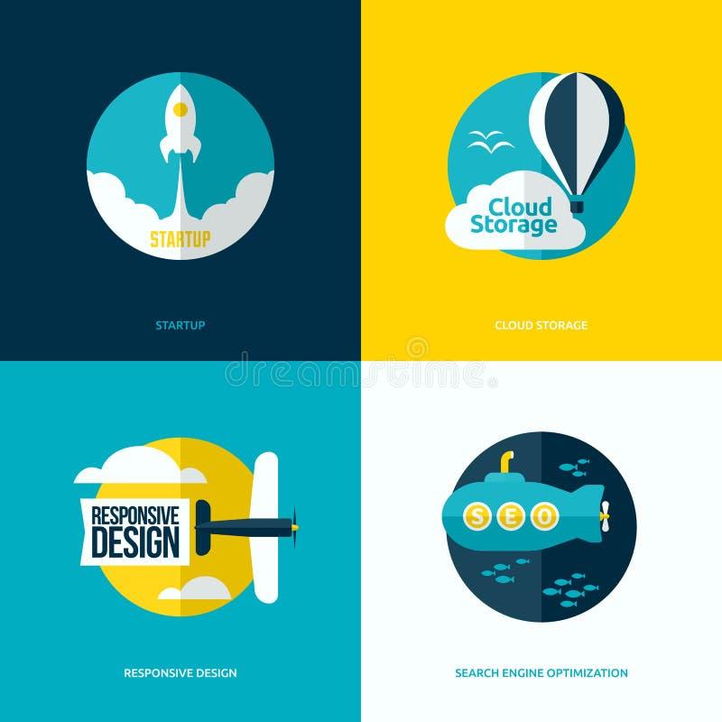 Conception plate du processus de démarrage, stockage de nuage, web design illustration libre de droits