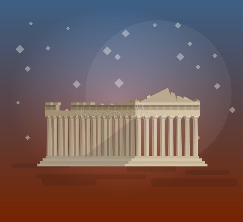 Conception plate du vecteur grec d'illustration de parthenon illustration stock