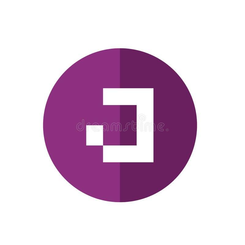 Conception plate impressionnante d'icône de la lettre J, couleur pourpre Logo Element, illustration de vecteur de concept de tech illustration de vecteur