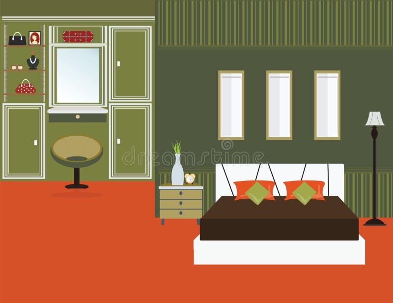 Conception plate intérieure de chambre à coucher illustration de vecteur