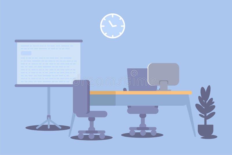 Conception plate intérieure de couleur de bureau Illustration de vecteur illustration libre de droits