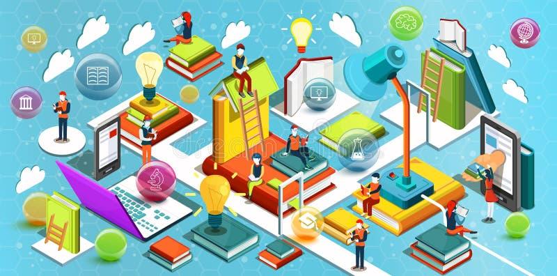Conception plate isométrique d'éducation en ligne Le concept des livres de lecture dans la bibliothèque et dans la salle de class illustration stock