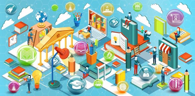 Conception plate isométrique d'éducation en ligne Le concept des livres de lecture dans la bibliothèque et dans la salle de class illustration de vecteur