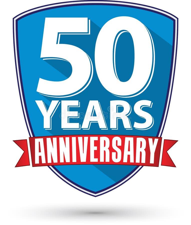 Conception plate label d'anniversaire de 50 ans avec le ruban rouge, vecteur IL illustration libre de droits