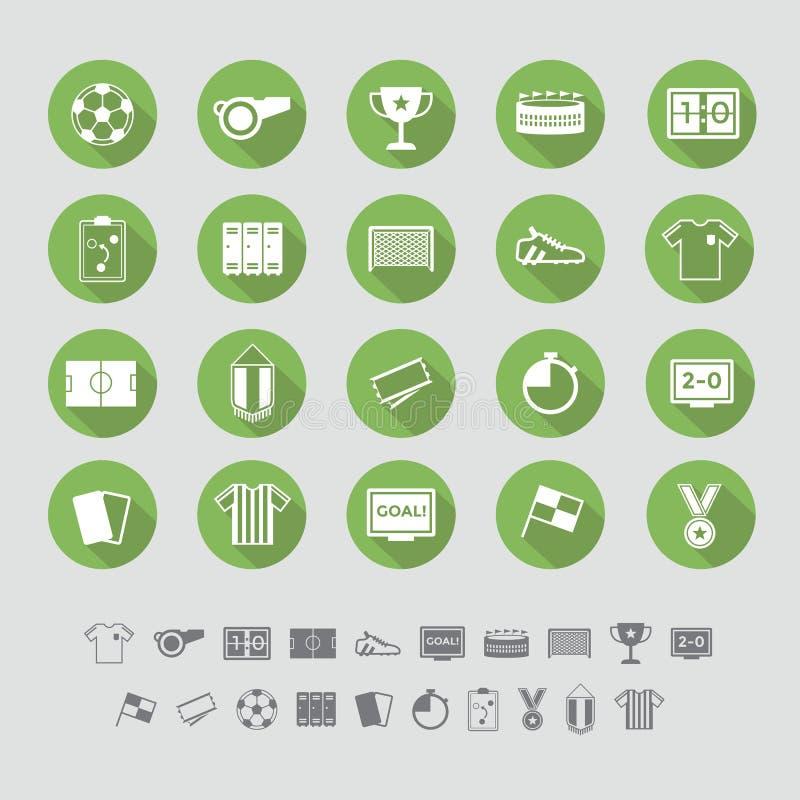 Conception plate réglée par icônes du football illustration stock