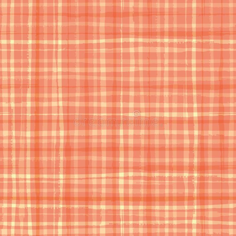 Conception pour aquarelle vibrante de plaid d'effet dans les tonalités de l'orange de cantaloup Configuration sans joint de vecte illustration stock
