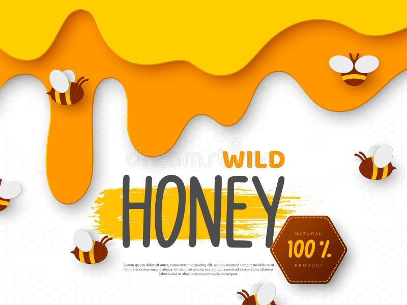 Conception pour l'apiculture et le produit de miel illustration de vecteur