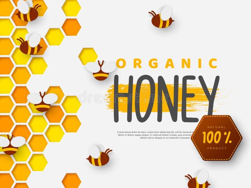 Conception pour l'apiculture et le produit de miel illustration libre de droits