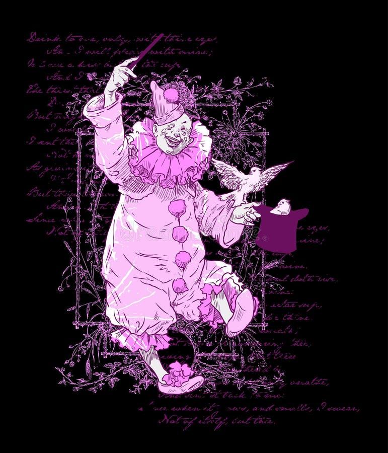 Conception pourprée de clown illustration libre de droits