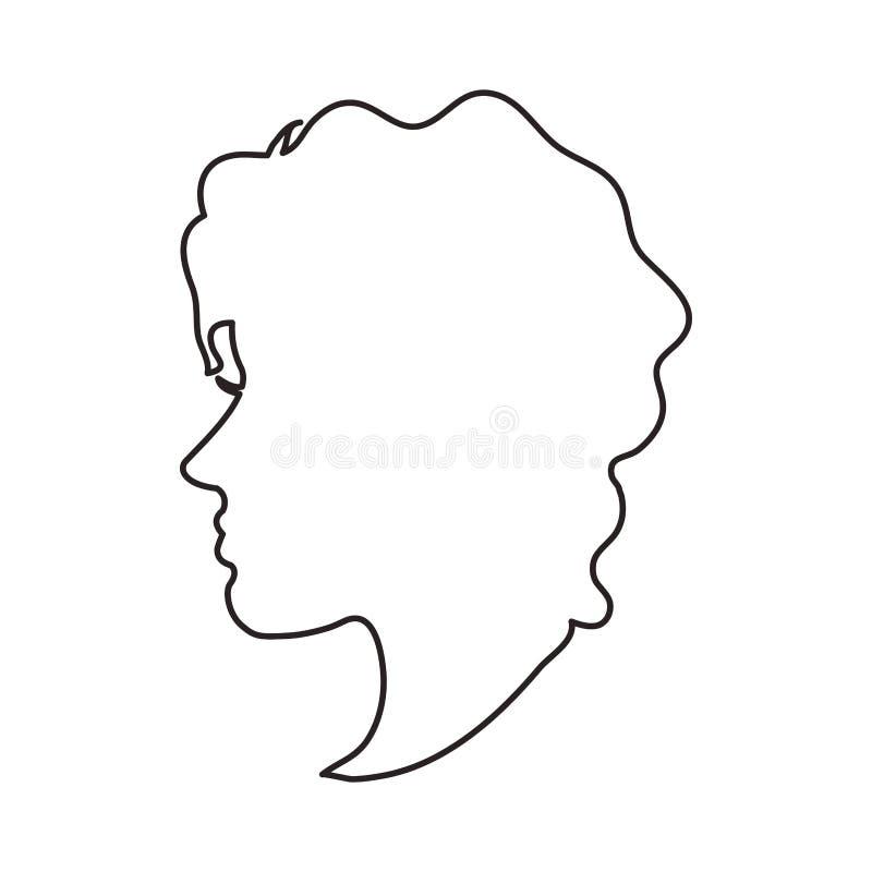conception principale de profil de femme illustration de vecteur