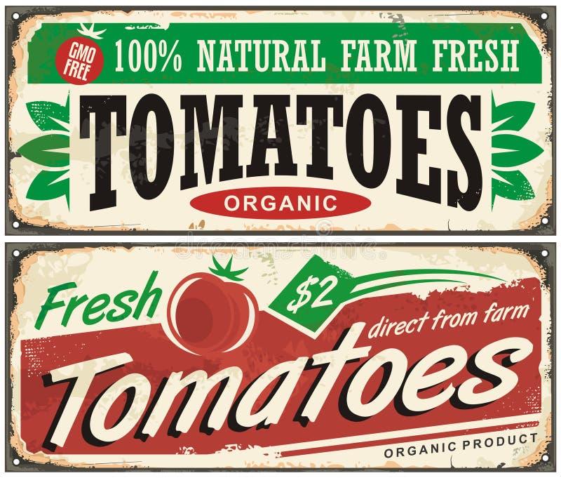Conception promotionnelle de signe de vintage de tomates illustration stock