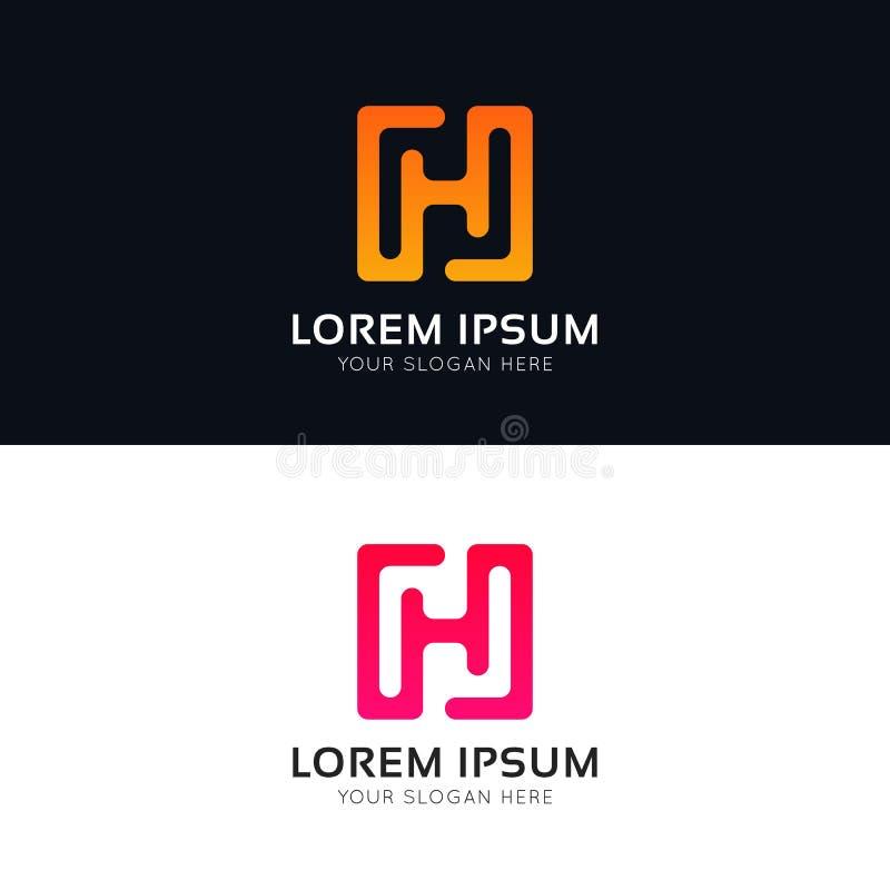 Conception propre de signe d'icône de société de logo abstrait de H illustration stock