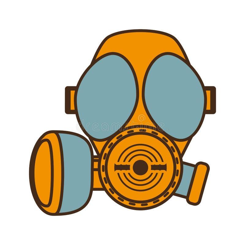 Conception protectrice de respiration de masque de gaz de bande dessinée illustration stock