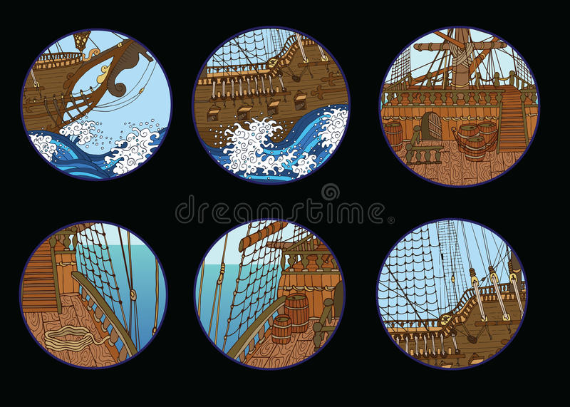 Conception réglée avec des éléments de bateaux de navigation illustration stock