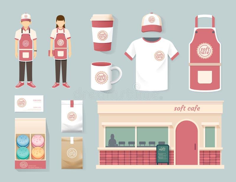 Conception réglée d'avant de boutique de café de restaurant de vecteur, insecte, menu illustration de vecteur